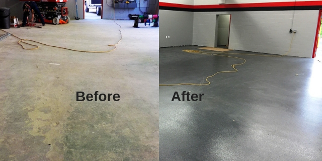 Shop floor coating before and after