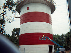 Coating installation for water tank
