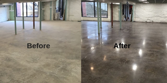 Concrete floor refinishing stain and polish