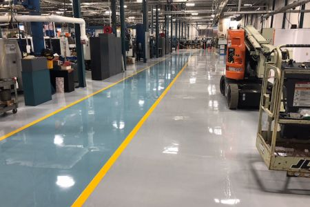 Epoxy floor coating for manufacturing plant