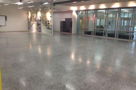 Polished aggregate floor coating