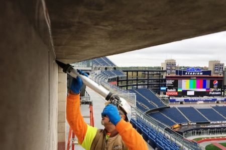 Caulking, sealants, waterproofing at stadium