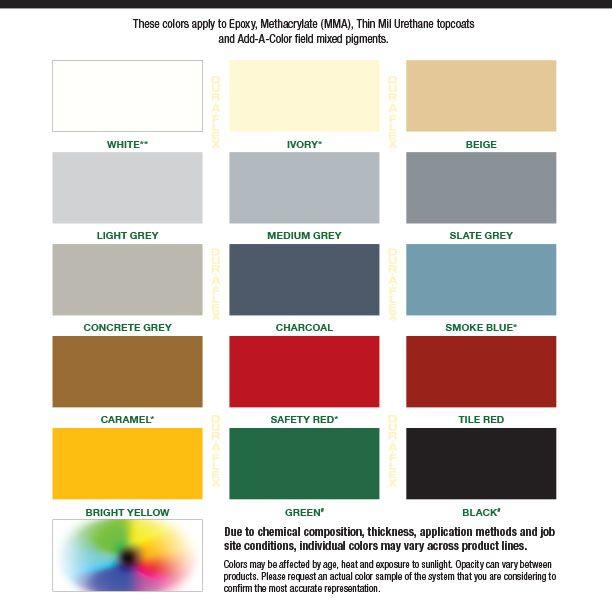 DurAFlex Standard Color Chart