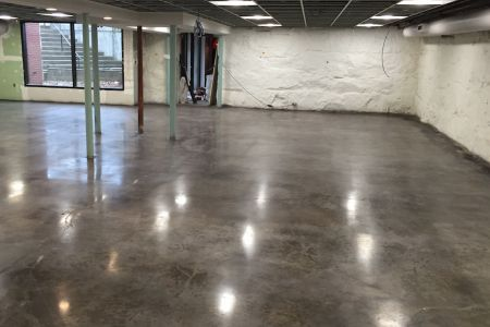 Concrete floor stain and polish application-installation complete