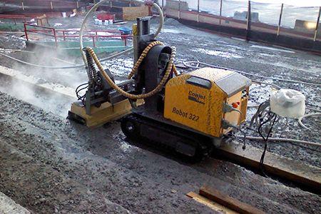 Hydro demolition and concrete restoration at stadium