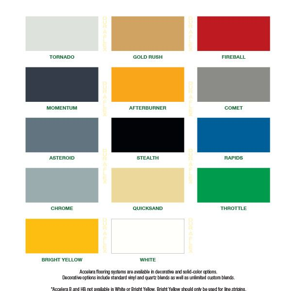 DurAFlex Accelera Standard Color Chart